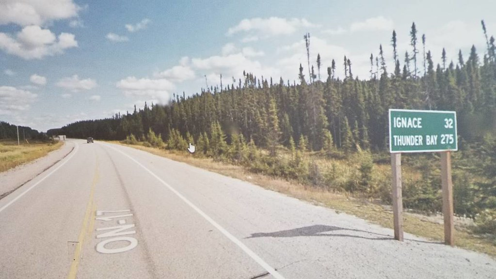 Ignace 32 km, Thunder Bay, 275 km. #ridingthroughwalls #xcanadabikeride #googlestreetview #ontario