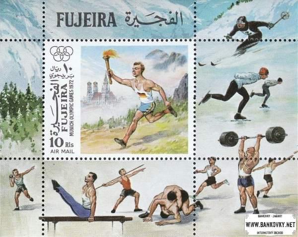 Známky Fujeira 1972 šport LOH Mníchov, razítkovaný hárček