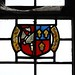 641-20170411_Cossington Church-Somerset-Nave (S side, W end)-window containing early 16th cent stained glass depicting shield of John Brent-detail