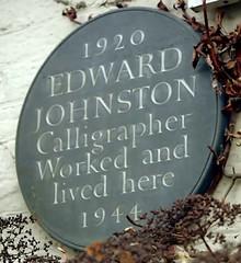 Photo of Edward Johnston stone plaque