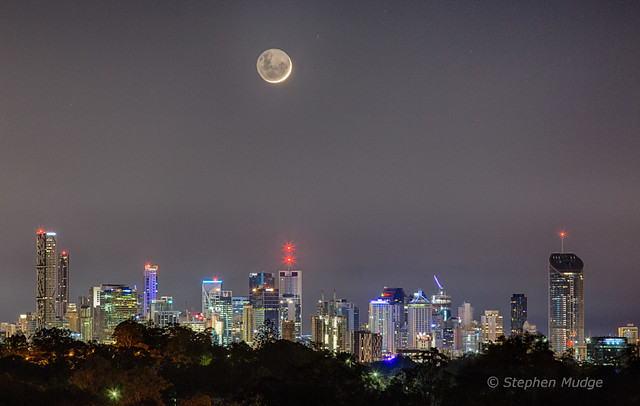 Crescent Moon over Brisbane city
