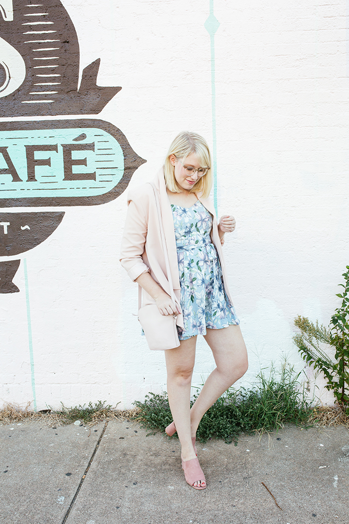 austin fashion blogger writes like a girl pastel floral romper blush blazer5