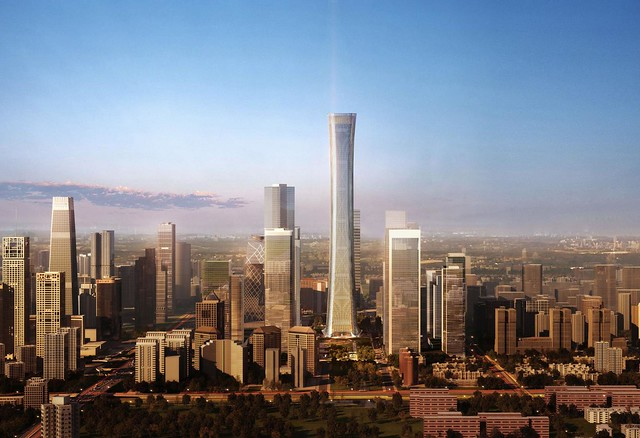 View over future Beijing business district, dominated by the Citic Tower, 528 meters (1,765 feet)