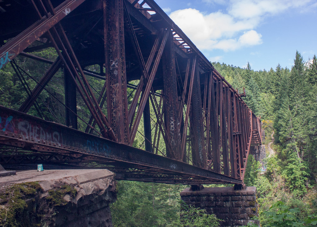 The red railway trestle bridge in Goldstream Provincial Park, Vancouver Island