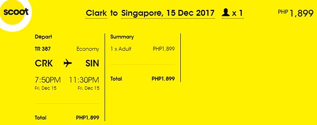 Clark to Singapore Promo December 15, 2017 Scoot