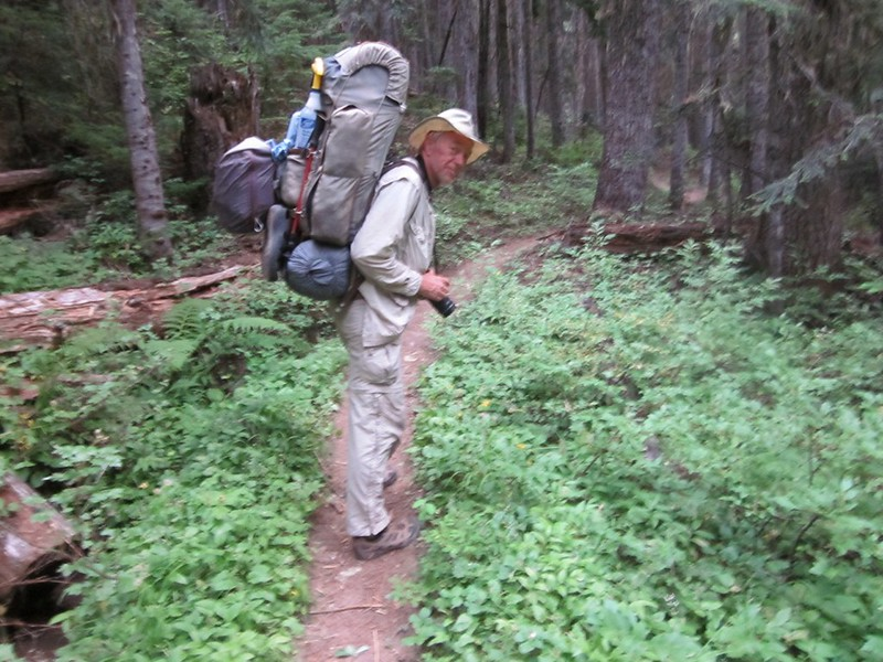 Climbing north on the Pacific Crest Trail from Miners Creek - I'm carrying part of Vicki's pack to help her out