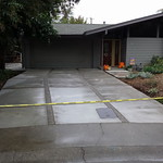 Custom Driveway With Exposed Aggregate Strips In Davis