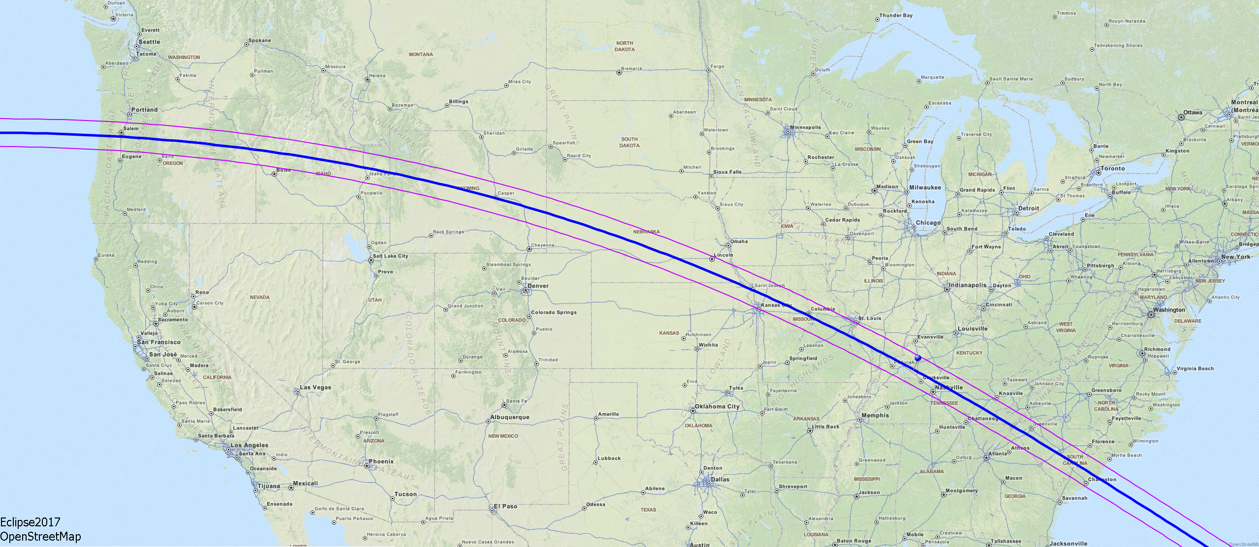 Map of the solar eclipse of August 21, 2017, showing path of totality.