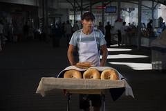 Bread salesman at Chorsu Bazaar