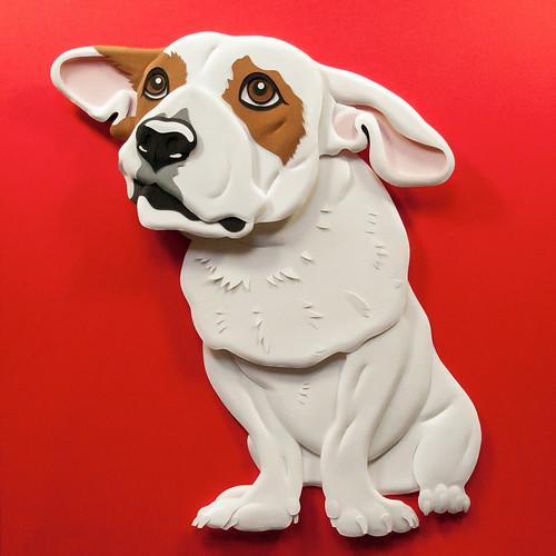 Rescue Dog Paper Sculpture by Emmanuel Jose - Zane