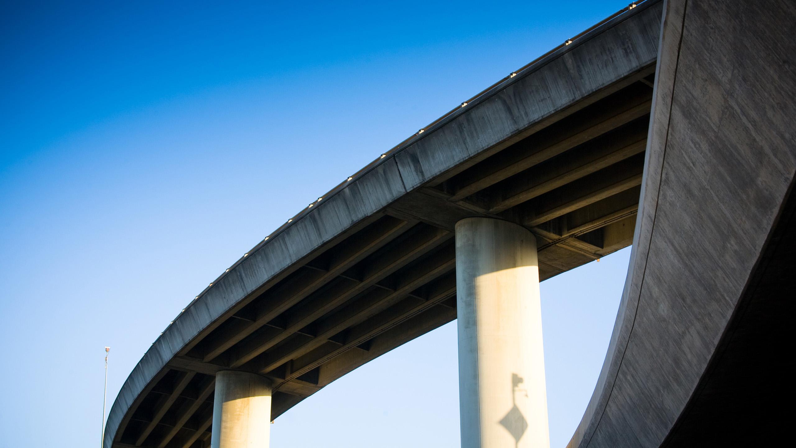 A concrete road overpass.
