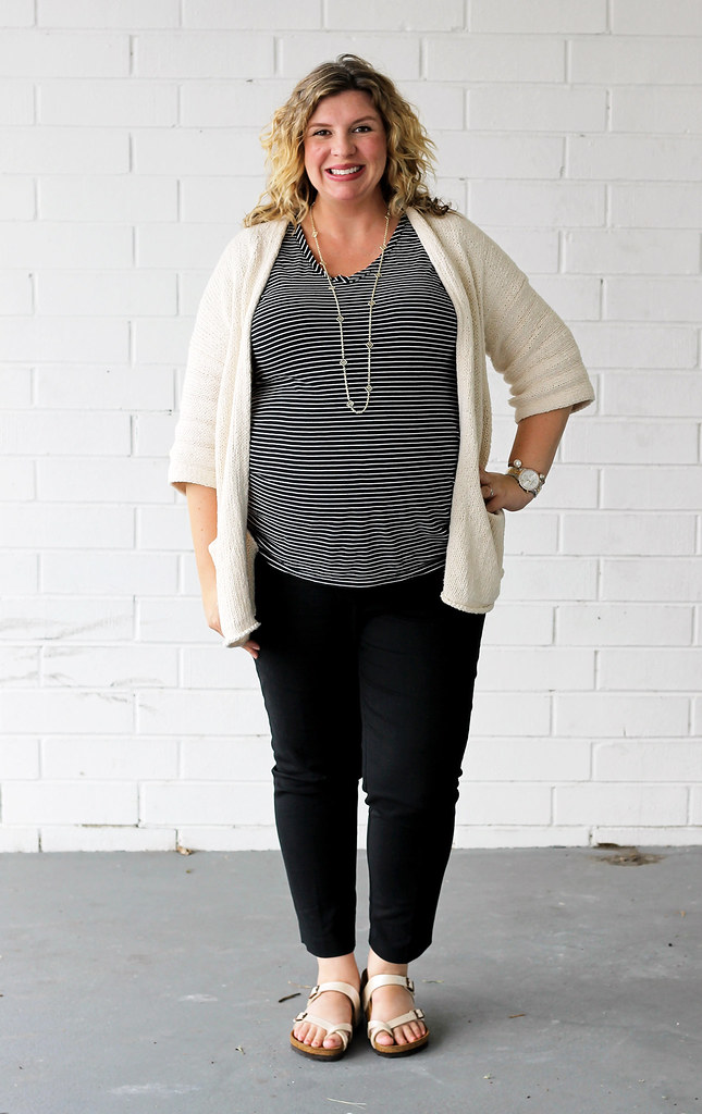 maternity black pants, black and white stripe tee, kimono cardigan, birkenstocks 4