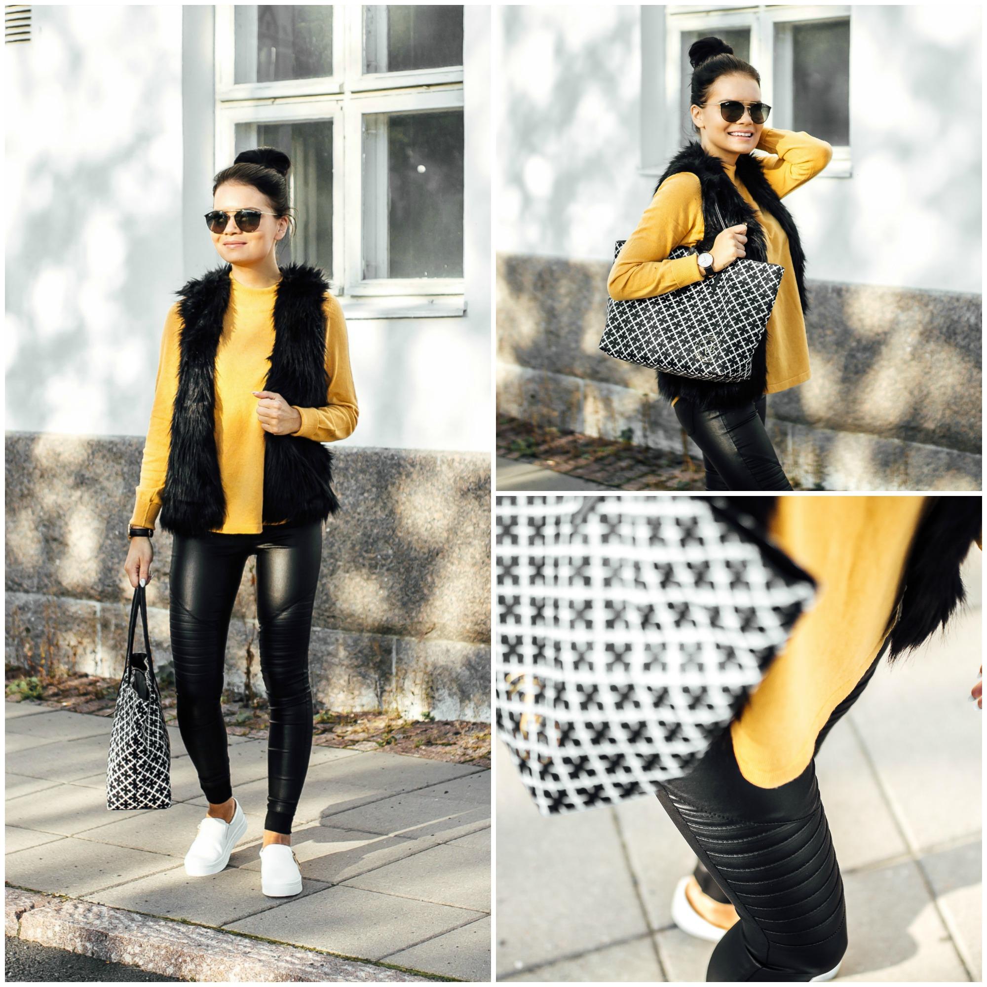 keltainen neulepusero