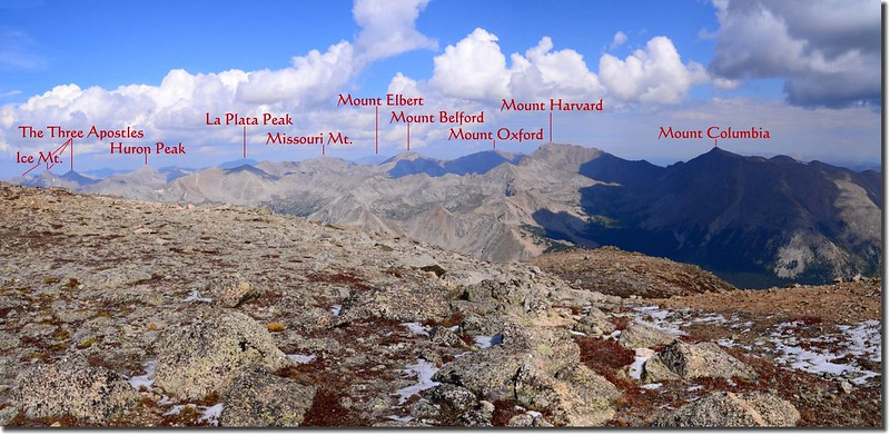 Looking Northwest from 13,900' on the saddle of Mount Yale 1-1