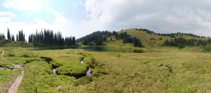 Image Lake panorama showing one of the inlet streams winding through the meadow in the basin
