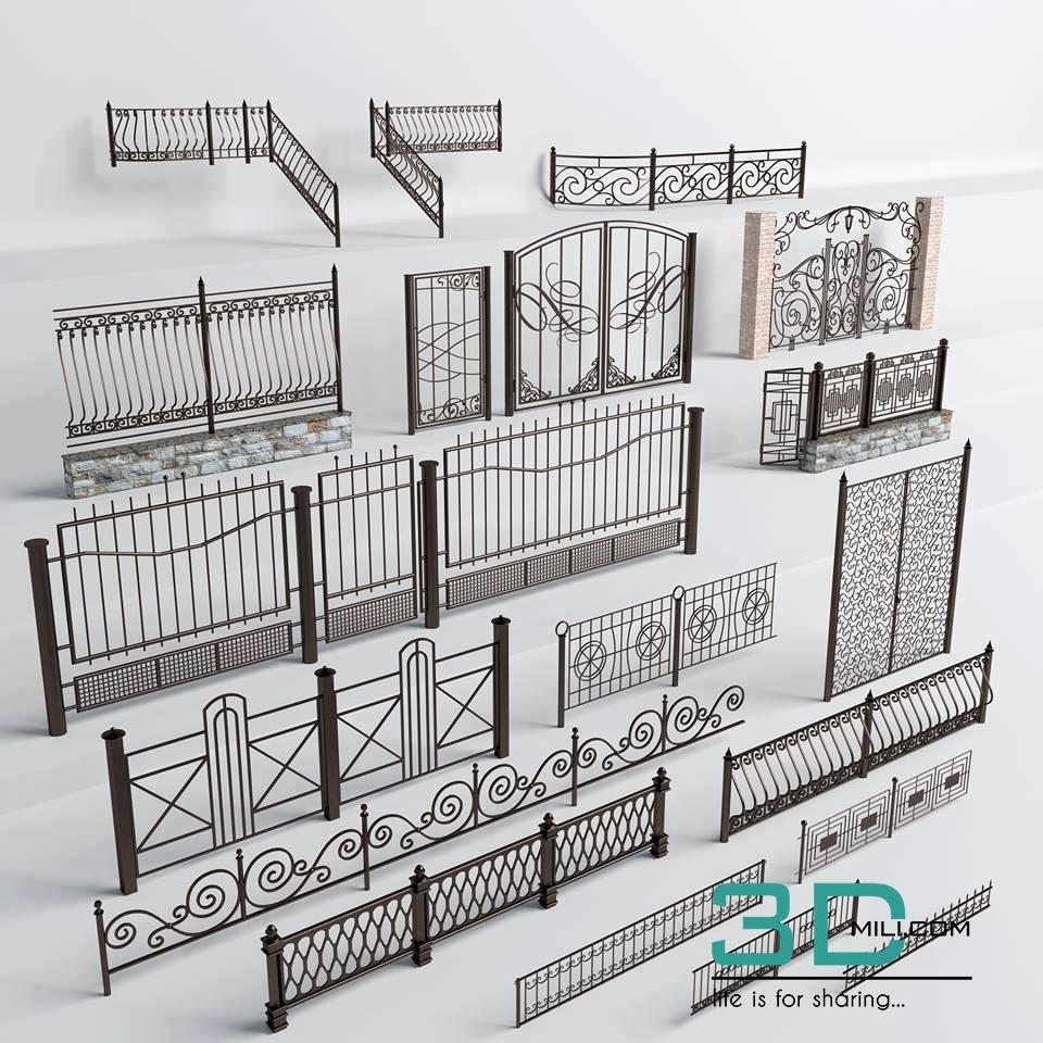 01 Iron Fence 3d Mili Download 3d Model Free 3d