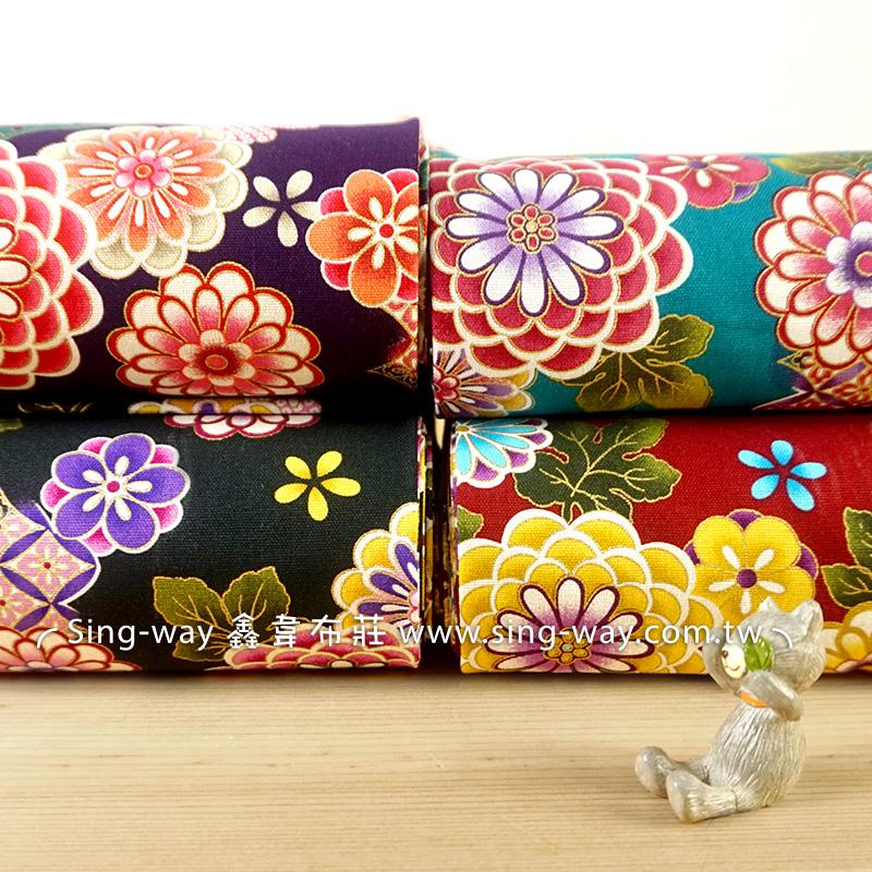 百花盛開季 古典日式燙金花卉 節慶佈置 紅包袋 手工藝DIy拼布布料 CF550603