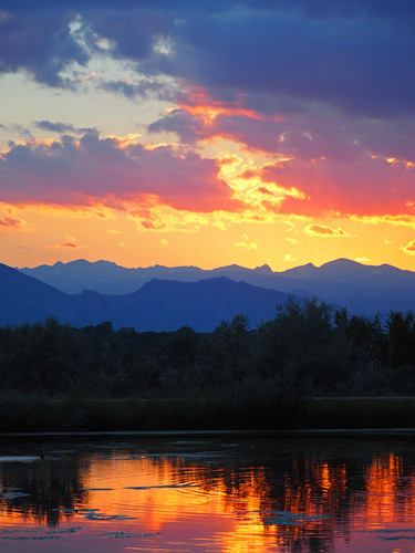 sunset color mountains colorado landscape nature scenic lake water sky reflection serenity trees clouds panorama light