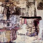 Sangeeta Reddy; Stains; Acrylic, newsprint, newspaper, cement, sand on canvas -