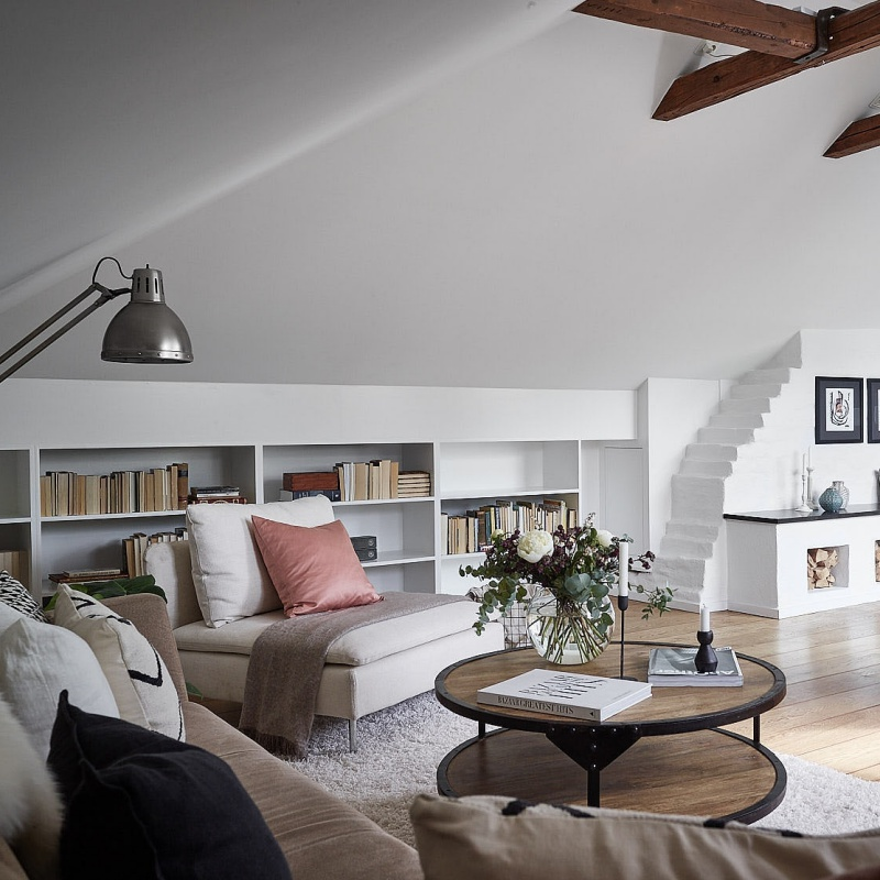 White Cosy Scandinavian Attic