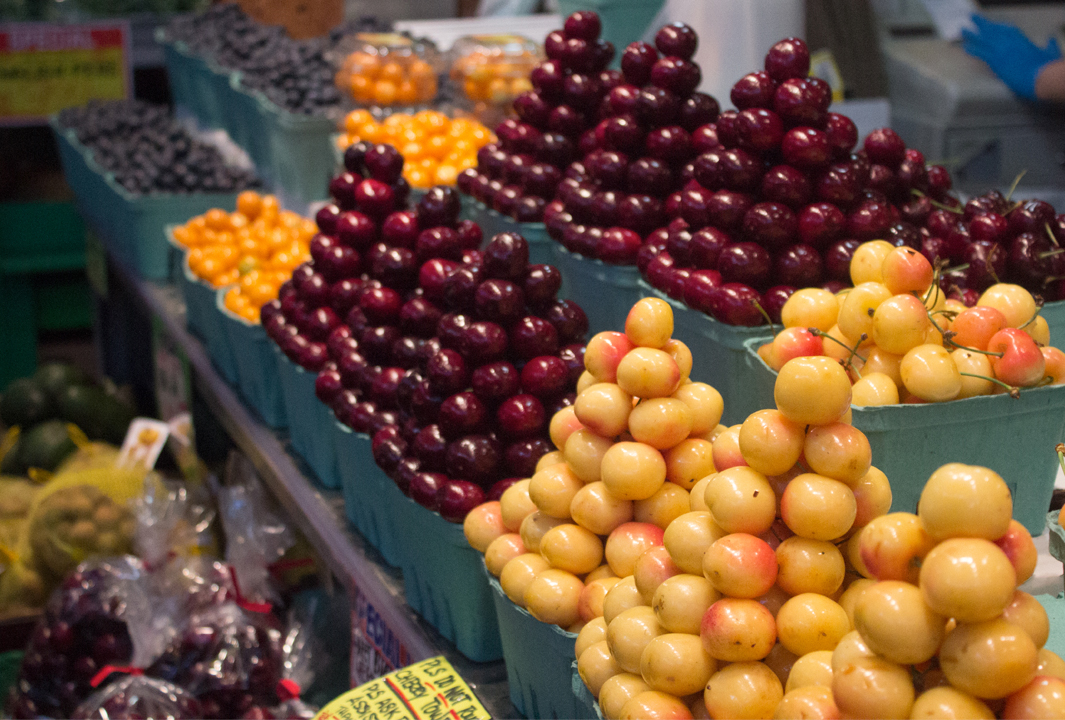Fresh cherries on a fruit stand at Granville Island