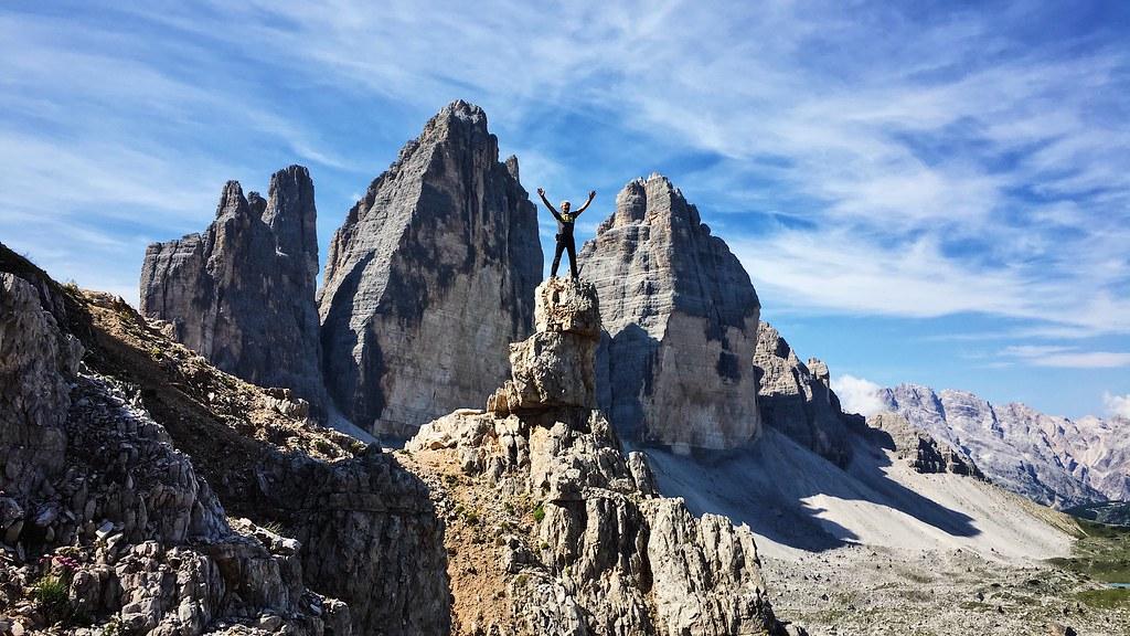 Climber at the Tre Cime di Lavaredo or Drei Zinnen, Italian Dolomites