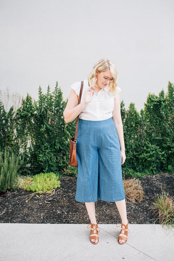 austin fashion blog writes like a girl modcloth chambray culottes2