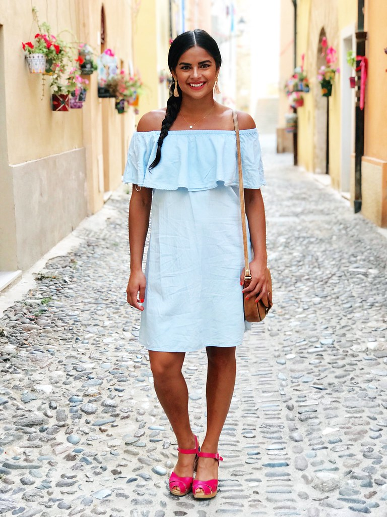 Priya the Blog, Nashville fashion blogger, off-the-shoulder chambray dress, Sardinia, Italy vacation outfit