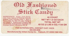Gilliam Candy Co. Old Fashioned Stick Candy label