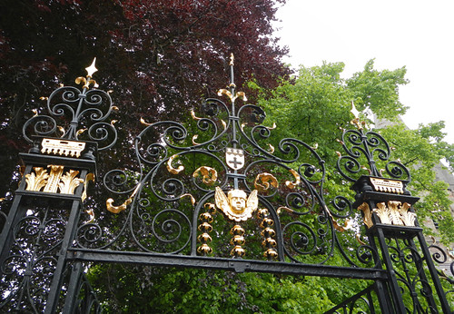 A gilded wrought iron gate in Ruthin, Wales