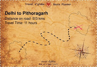 Map from Delhi to Pithoragarh