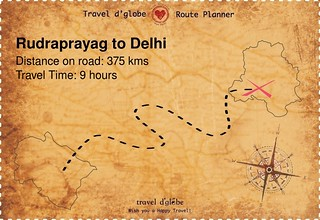 Map from Rudraprayag to Delhi