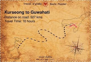 Map from Kurseong to Guwahati