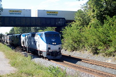 Over three hours late, P030 comes under a halted 203, Shenandoah Junction, WV