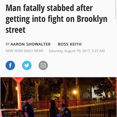 Group of men stabbed a dude last night around the corner from my house. WTF #mcgolrickpark #stabbing #greenpoint