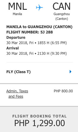 Manila to Guangzhou Cebu Pacific Air Promo March 18, 2018