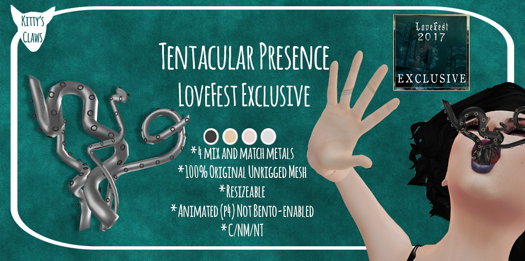 Kitty's Claws @ LoveFest 2017 - Tentacular Presence Mouth Attachment - SecondLifeHub.com