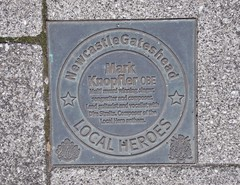 Photo of Mark Knopfler bronze plaque