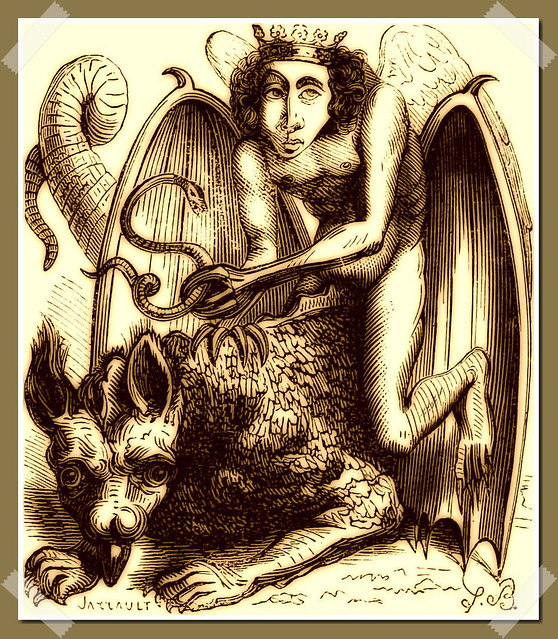 Astaroth as depicted in Collin de Plancy's Dictionnaire Infernal, 1863 edition.