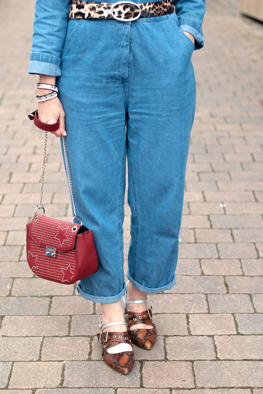 How to style a denim jumpsuit / boilersuit for the summer  leopard print belt  red studded crossbody bag  pointed toe snakeskin Finery flats | Not Dressed As Lamb, over 40 style
