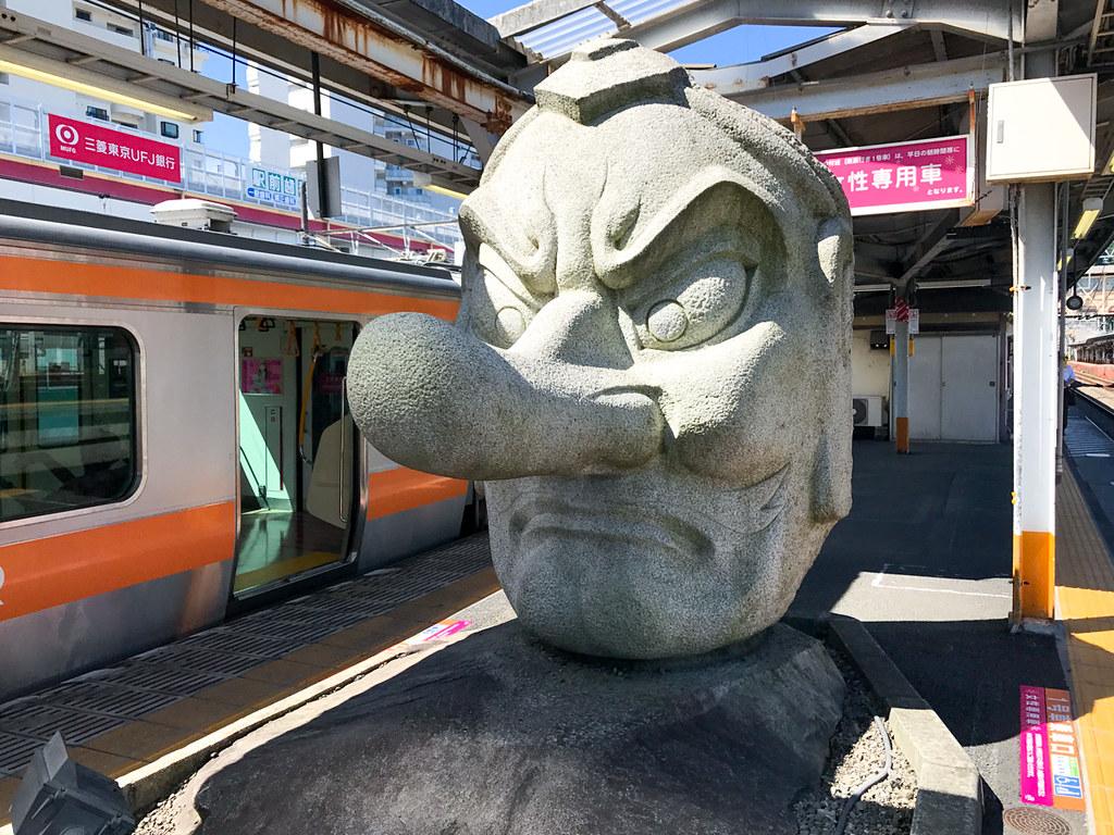 Tengu statue at Takao Station