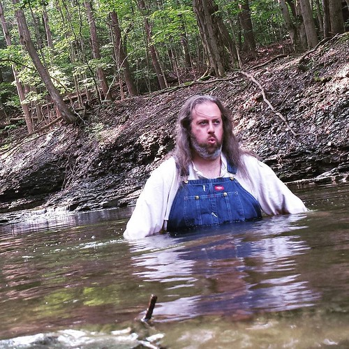 "This is my ""Holy shit this water is COLD"" face. Ayup. #ChestnutRidge #wny #OrchardPark #summer #hiking #nature #stream #runningwater #pool #swimminghole #huzzah #overalls #dickiesworkwear #bluedenim #dungarees #denim #taketheplunge"