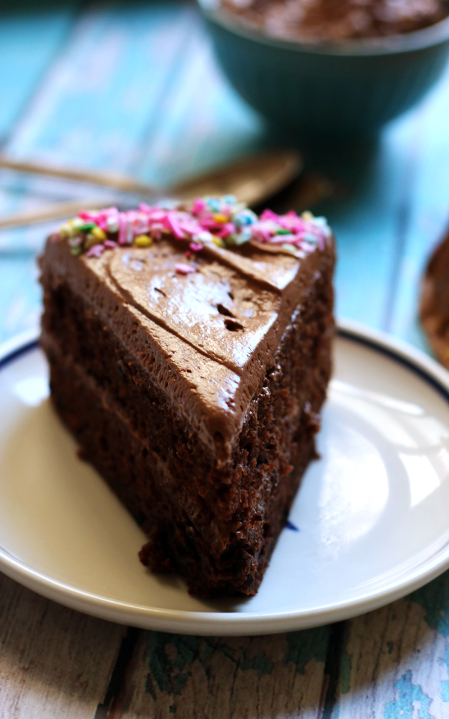 Double Chocolate Layer Cake with Milk Chocolate Sour Cream Frosting