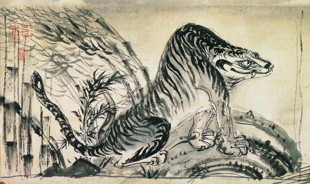 《竹虎図》(明治時代、奈良県立美術館、~8月20日)