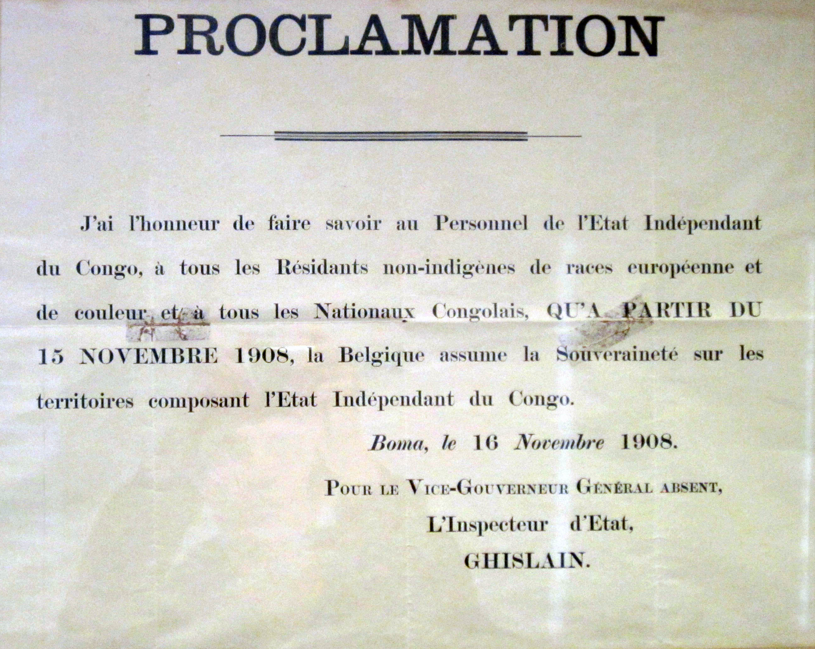 Proclamation from the Governor of the Congo Free State informing residents of the Congo of the creation of the Belgian Congo.
