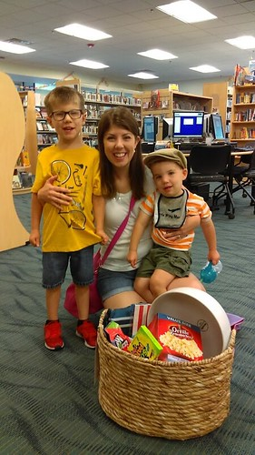 Calvert Library posted a photo:Movie basket winner for August.