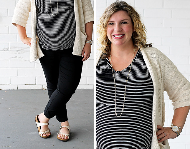 maternity black pants, black and white stripe tee, kimono cardigan, birkenstocks 1