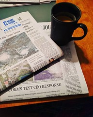 Newspapers and a cup of joe . Oh, joy!
