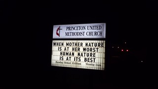 New message on the sign at Princeton UMC on the day that Hurricane Irma reached Florida.