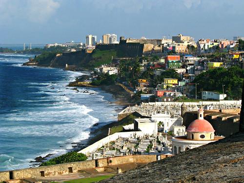 sanjuan usa us sea caribbean island coastline cemetery burialground sandraleidholdt puertorico city shore building ocean landscape gettysales